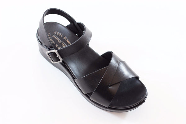 Kork Ease Women's Myrna 2.0 Sandal - Black Leather Side Angle View
