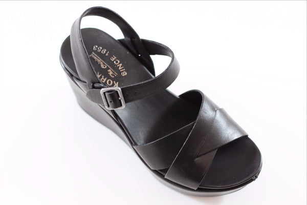 Kork Ease Women's Ava 2.0 Sandal - Black Calf Side Angle View