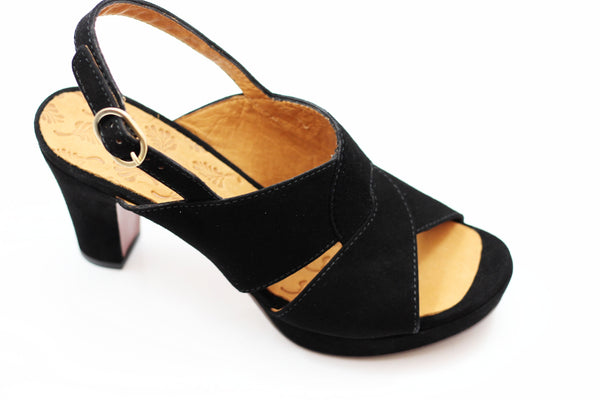 Chie Mihara Women's Eskol Sandal - Black Suede Side Angle View