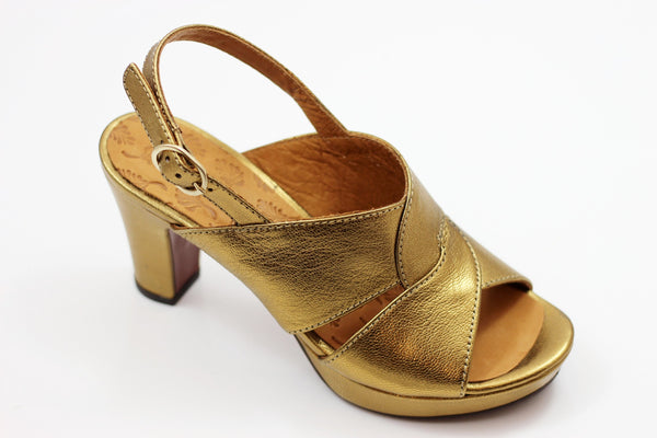 Chie Mihara Women's Eskol Sandal - Gold Metallic Leather Side Angle View