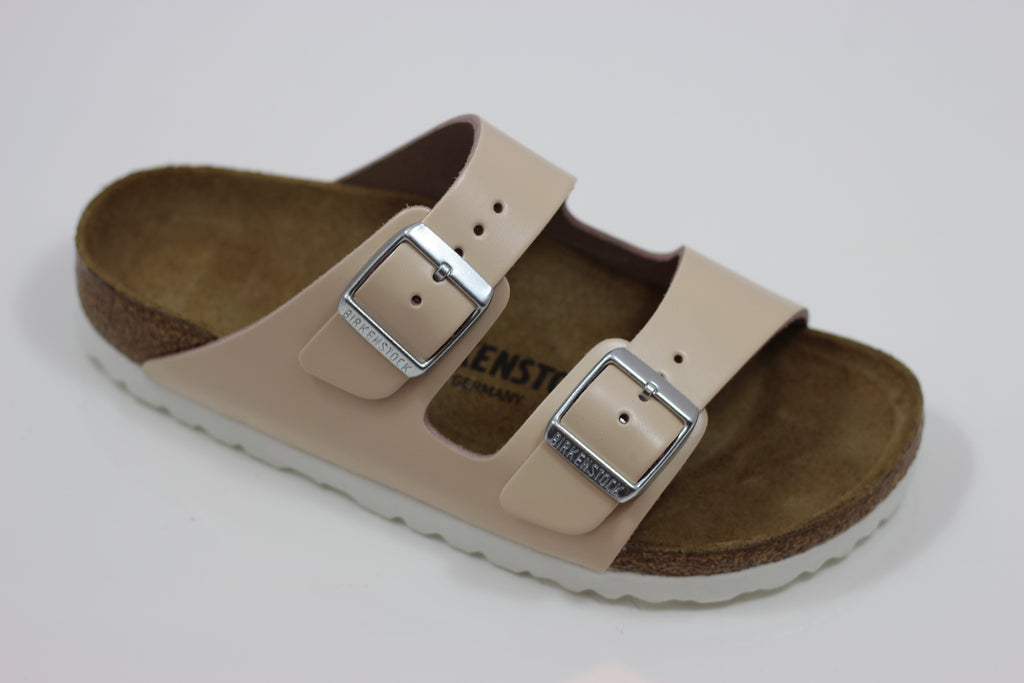 Birkenstock Women's Arizona Sandal - Natural Leather Front Angle View