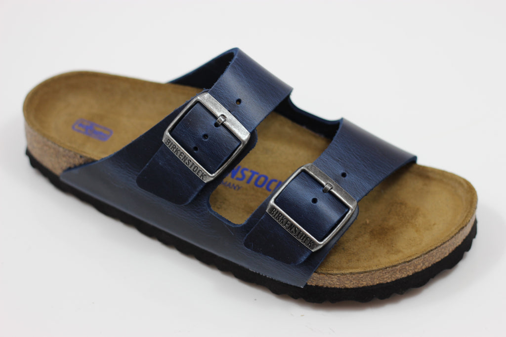 Birkenstock Women's Arizona Sandal - Blue Leather Front Angle View