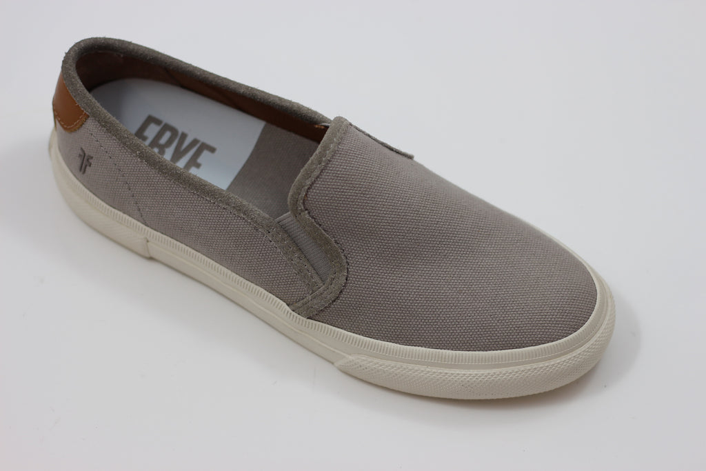 Frye Women's Gia Slip on - Grey Canvas Side Angle View