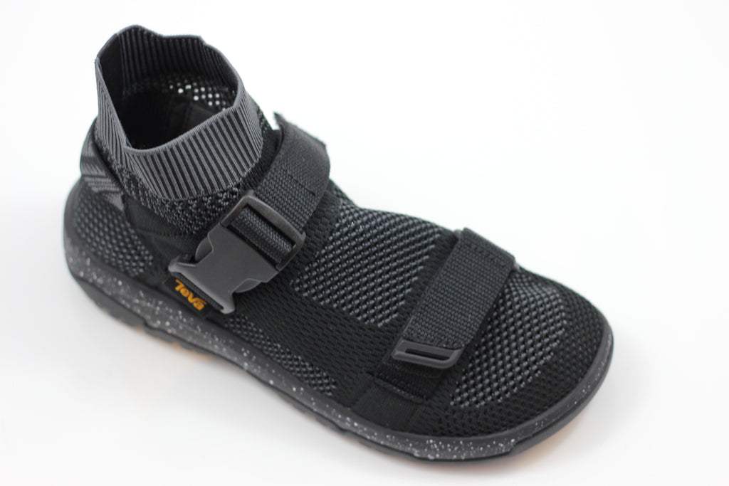 Teva Men's Hurricane Sock Sandal- Black Knit Side Angle View