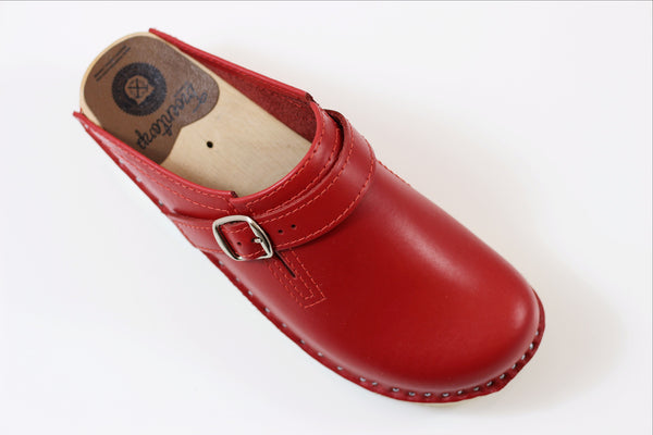 Troentorp Women's Raphael Clog - Red Calf Side Angle View