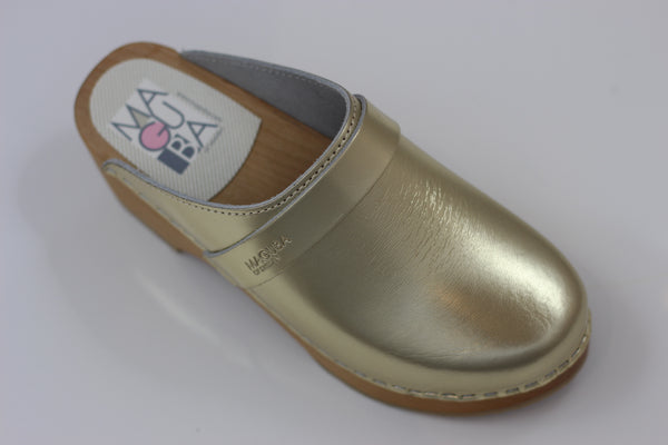 Maguba Women's Berkeley Clog - Gold Leather Side Angle View