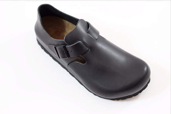 Birkenstock Men's London - Hunter Black Leather Side Angle View