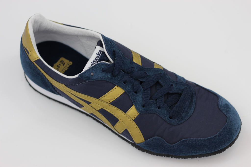 Onitsuka Tiger Unisex Serrano Sneaker - Navy/Gold Side Angle View