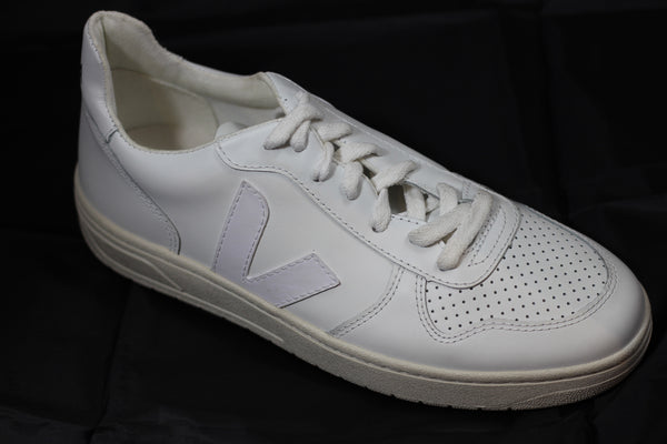 Veja Men's V10 Sneaker - Extra White Leather Side Angle View