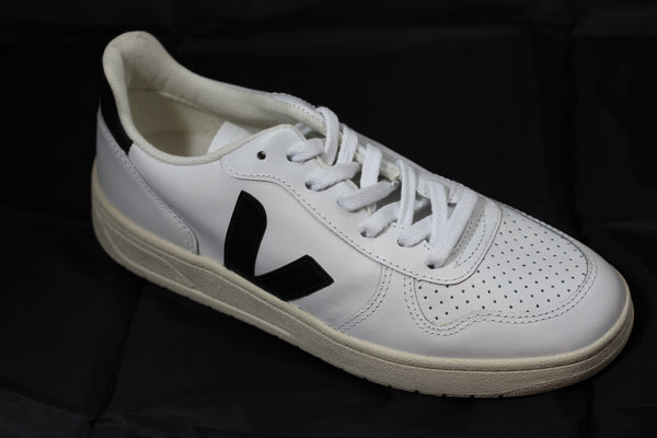 Veja Women's V10 Sneaker - Extra White/Black Side Angle View