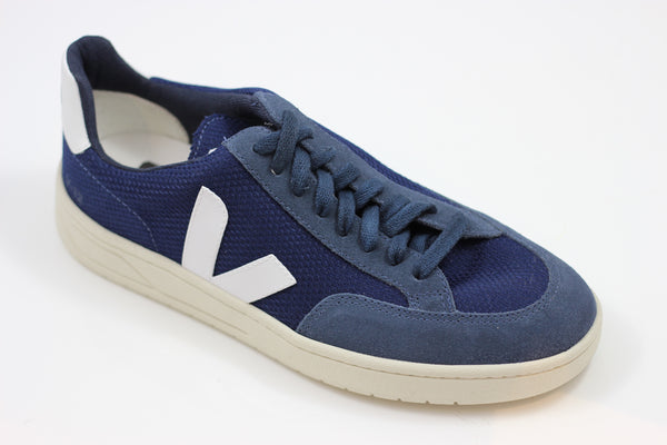 Veja Men's V12 Mesh Sneaker - Nautico/White Suede/Leather Side Angle View