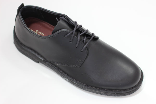 Clarks Men's Desert London Oxford - Black Leather  Side Angle View