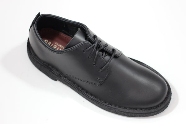 Clarks Women's Desert London Oxford - Black Leather Side Angle View