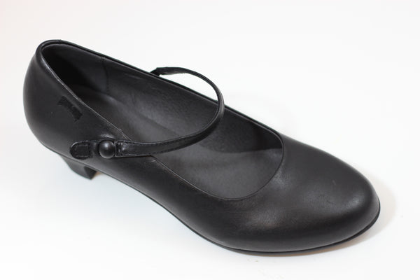Camper Womens Helena Pump - Black Leather Side Angle View