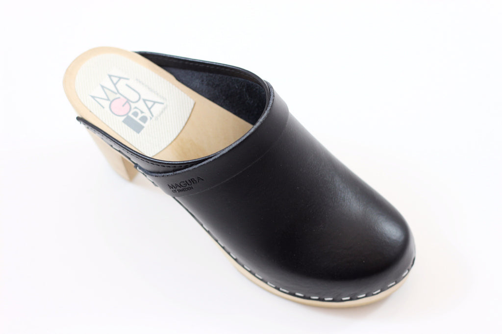 Maguba Women's Stockholm Clog - Black Leather Side Angle View
