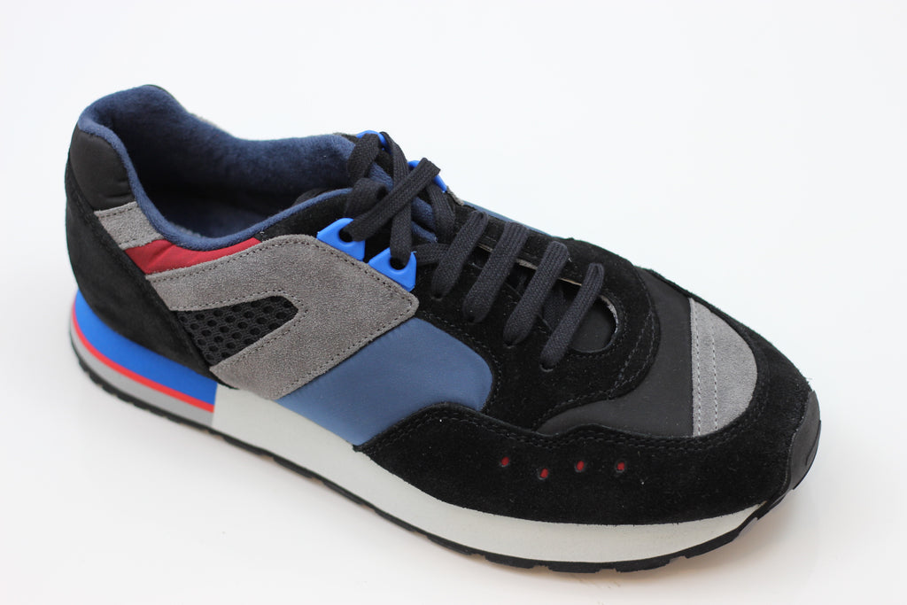 Reproduction of Found Womens 1300FS Sneaker - Black/Blue Suede/Satin Side Angle View