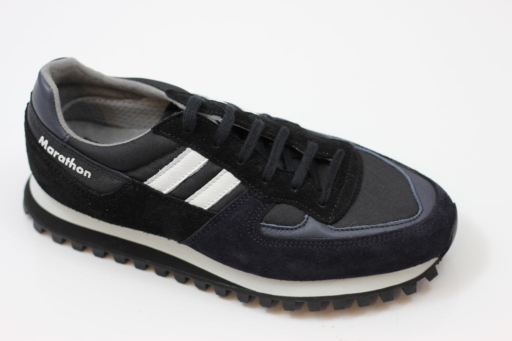 Reproduction of Found Womens 2200FSL Sneaker - Black/Navy Suede Side Angle View