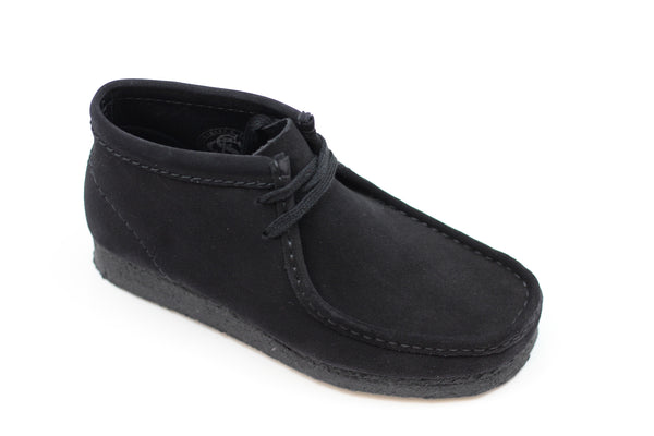 Clarks Women's Wallabee Boot - Black Suede Side Angle View