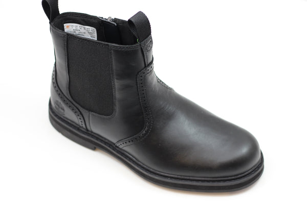 Timberland Men's Squall Canyon Chelsea Boot - Black Leather Side Angle View