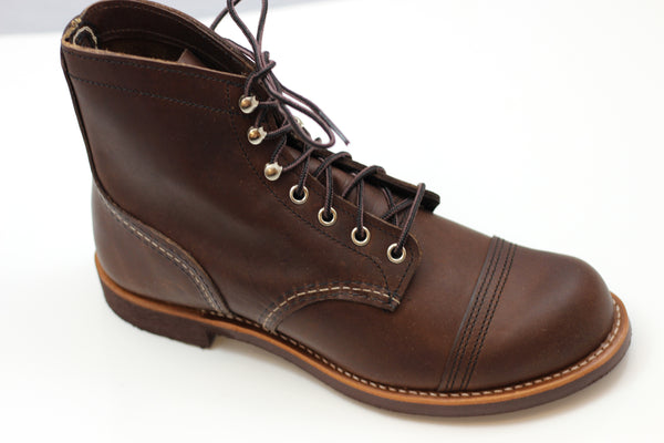 Red Wing Men's Iron Ranger Boot - Amber Leather Side Angle View