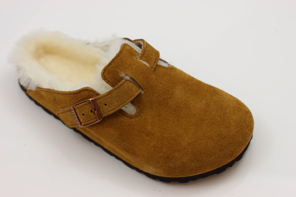 Birkenstock Women's Boston Shearling Clog - Mink Suede/Shearling Side Angle View