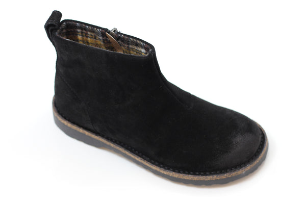 Birkenstock Women's Melrose Boot - Black Suede Side Angle View