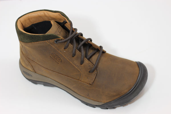 Keen Men's Austin Casual Waterproof Boot- Chocolate Leather Side Angle View