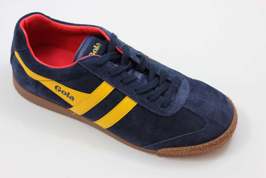 Gola  Men's Harrier Sneaker - Navy/Sun/Red Suede/Leather - Side Angle View