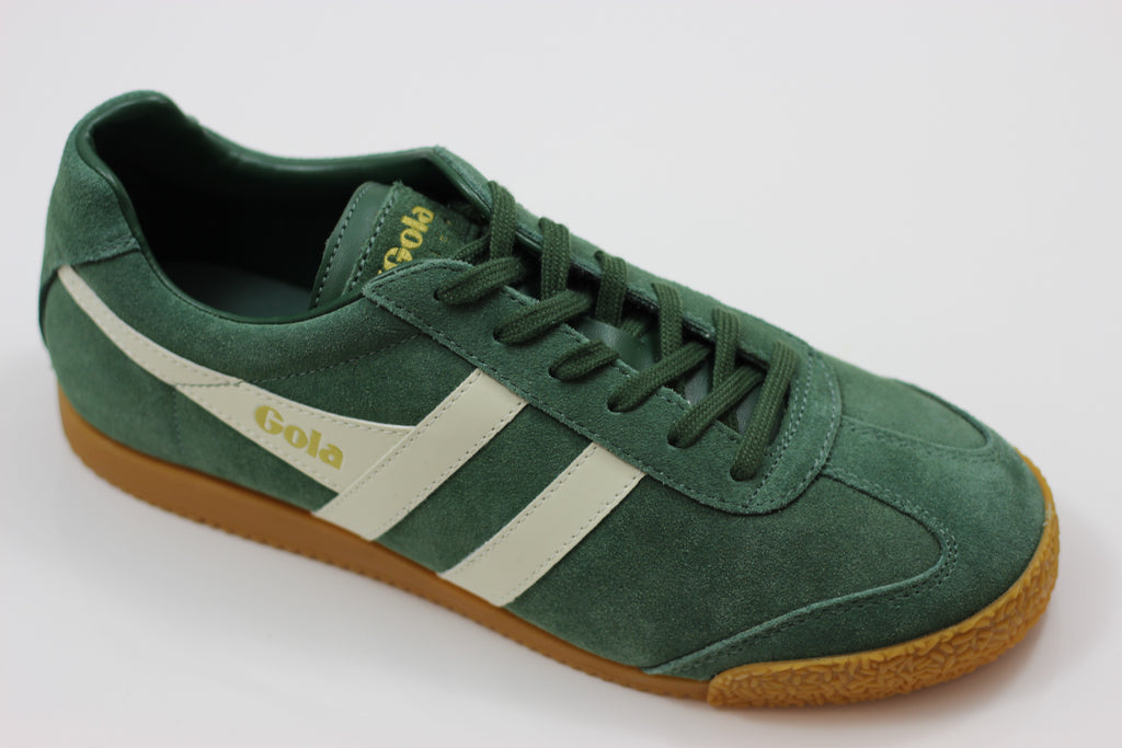 Gola Men's Harrier Sneaker - Evergreen/Off White Suede/Leather - Side Angle View