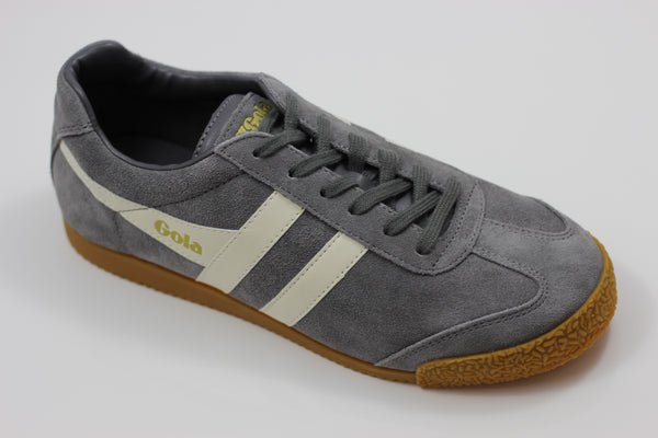 Gola  Men's Harrier Sneaker - Ash/Ecru Suede/Leather - Side Angle View