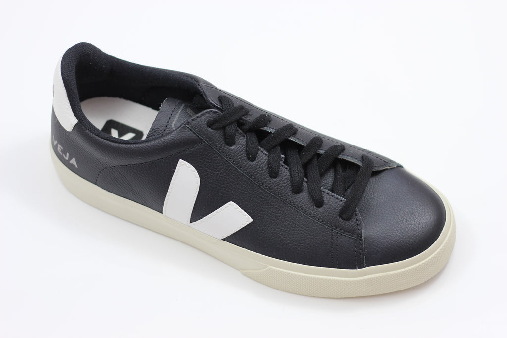 Veja Men's Campo Sneaker - Black/White Leather - Side Angle View