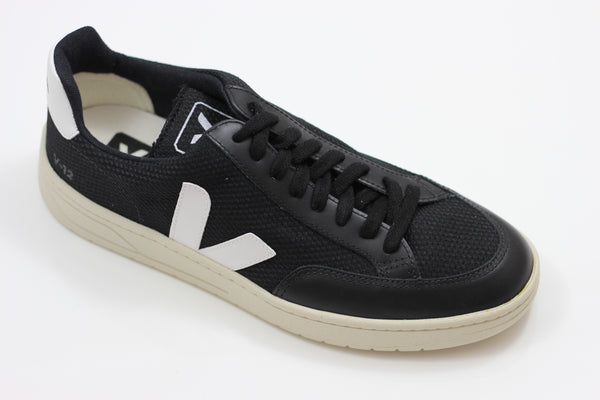 Veja Men's V12 Mesh Sneaker - Black/Off White Suede/Mesh - Side Angle View