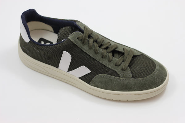Veja Men's V12 Mesh Sneaker - Olive/Off White Suede/Mesh - Side Angle View