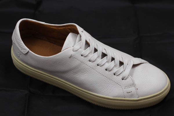Frye Mens Astor Low Lace Sneaker - White Leather - Side Angle View