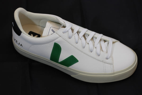 Veja Women's Campo Sneaker - Extra White/Emeraude/Black Leather - Side Angle View