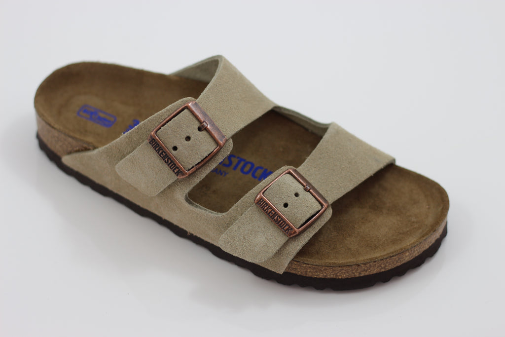 Birkenstock Women's Arizona Sandal - Taupe Suede Side Angle View