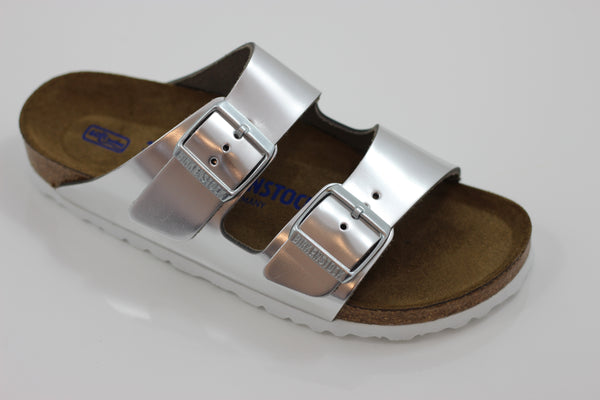 Birkenstock Women's Arizona Sandal - Metallic Silver Leather Side Angle View
