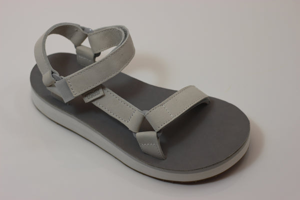 Teva Women's Midform Universal Sandal - White/Grey Leather - Side Angle View