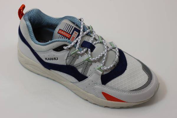 Karhu Unisex Fusion 2.0 Sneaker - White/Twilight Blue - Side Angle View