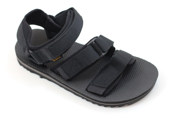 Teva Men's Cross Strap Trail Sandal- Black Nylon - Side Angle View