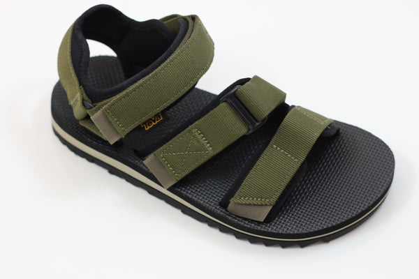 Teva Men's Cross Strap Trail Sandal- Olive Nylon - Side Angle View