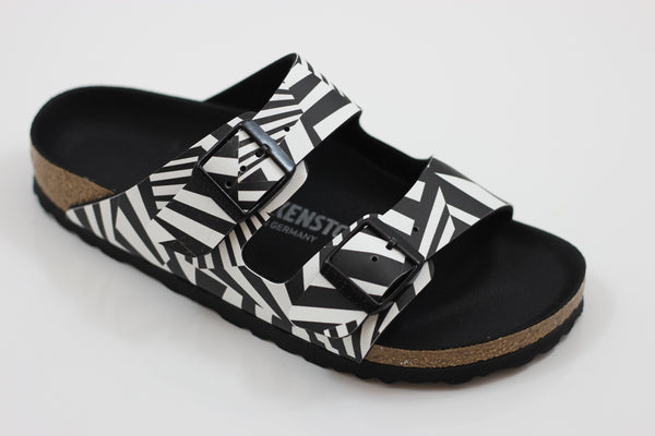 Birkenstock Women's Arizona Sandal - Dazzle Camo Black/White Birko Flor - Side Angle View