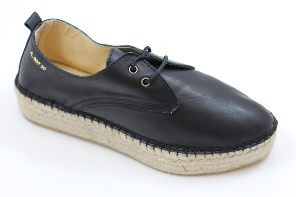 Act Series Women's Cyan Oxford - Black Leather - Side Angle View
