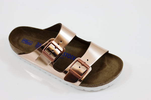 Birkenstock Women's Arizona Sandal - Metallic Copper Leather Side Angle View
