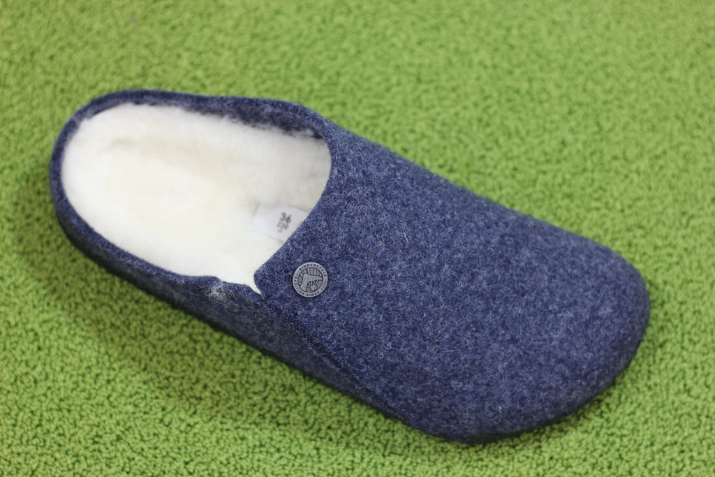Birkenstock Women's Zermatt Slipper - Dark Blue Wool/Shearling Side Angle View