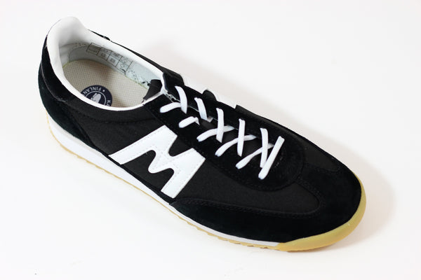 Karhu Men's Champion Air Sneaker - Black White Suede/Nylon Side Angle View