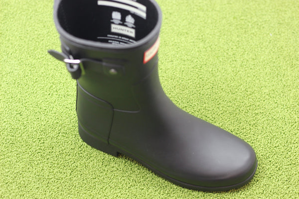 Hunter Women's Original Refined Short Rainboot - Black Rubber Side Angle View
