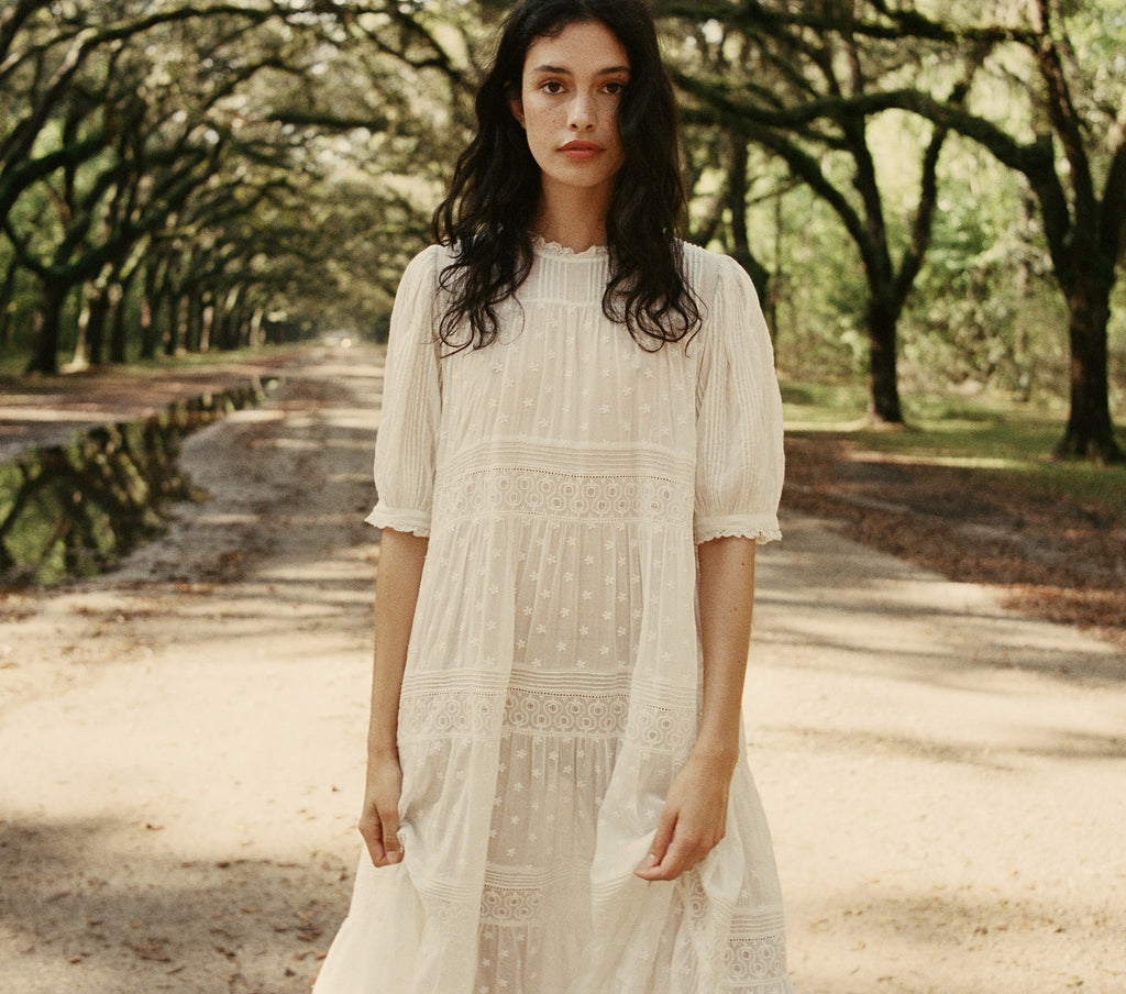 white embroidered cotton pin tucked half sleeve maxi dress dôen