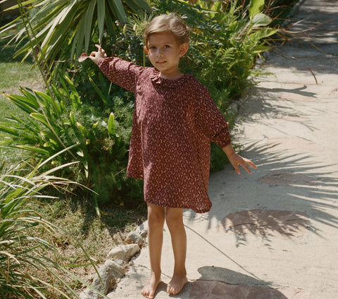 YEARLING BY DOEN STRAWBERRY DRESS --  WINE WINTER DITSY