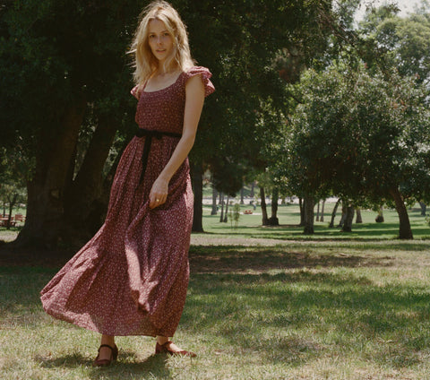 HONEYSUCKLE DRESS -- WINE WINTER DITSY